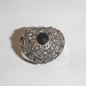 Heart Shaped Fashion Ring-Black Gemstone